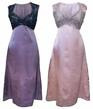 Ladies Sexy Satin Long Knee Length Pink & Purple Nightgown Night dress with Lace