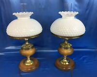 2 Vintage Beautiful Gone With The Wind GWTW Hurricane Lamp Antique White Hobnail