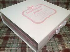 Large Personalised New Baby Girl Pink Keepsake Box Christening Gift Present
