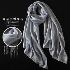 Luxury Women Real 100% Silk Long Solid Scarf Wraps Shawl Scarves Bandana New