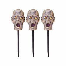 New ! 3PK Halloween Zombie Head Path Lights Stake Lights Size Red LED Lights