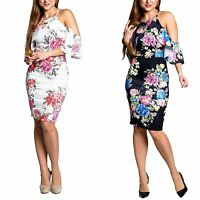 Womens Ladies Frill Overlay Floral Print Strappy Cold Shoulder Bodycon Dress