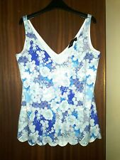 NEW Dorothy Perkins floral print pretty V-neck blue vest top size 8