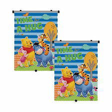 2 x Genuine Disney Winnie the Pooh Car Sun Shade Roller Window Blind for Kids