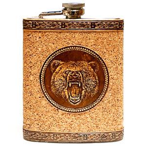 BIRCH BARK Steel Flask Bear, Hip Liquor, Whiskey, Cork Tree, #3, 8oz