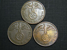 Germany  German WWII 1937A 1938A and 1939A 2 Reichspfennig Coin Collection