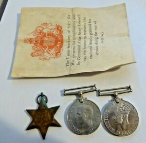 WW2 British Army Medal Trio - 1939-45 Star & War Medals & Defence Medal
