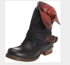 New Womens Casual Buckle Mid Calf Biker Slouch Ankle Boots Low Chunky Heel Shoes