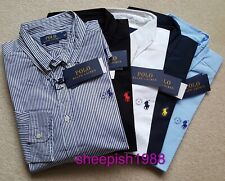 Ralph Lauren Long Sleeve Shirt For Men - Black Navy White Striped Light Blue