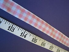 "A2284 RIBBON Peach White Gingham Check 7/8"" W 6 Yds UNIQUE"