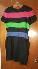 Vtg 80s Scaasi Dress Black with 3 Bold Multicolor Stripes Linen Dress size 12