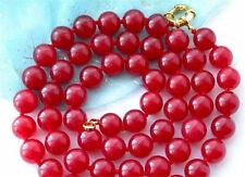 "Handmade 8mm Natural Red Jade Round Gemstone Beads Necklace 360"" Long AAA"