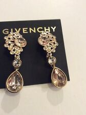 $68 Givenchy Gold Tone Clear and Champagne Colored Cluster Double Drop #348C GE