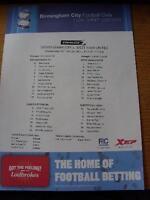 26/01/2011 Colour Teamsheet: Football League Cup Semi-Final - Birmingham City v