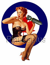 WWII Canadian RAF Bomber Pinup Girl Guitar decal S123