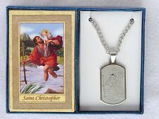 Catholic Dog Tag Style Stainless Steel ST CHRISTOPHER Medal *Boxed* & holy card