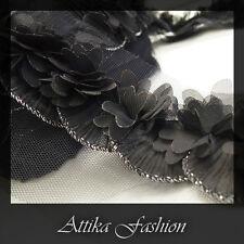 Black Butterfly --- Organza Ruffled Designer Trim *per yard*