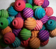 "40 Bird Toy Parts 5/8"" Colored Wood Beehive Beads Wooden Craft Parts w/ Hole"