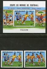 MALI 1990 ITALY WORLD CUP FOOTBALL OVERPRINTED SET & MINIATURE SHEET MNH