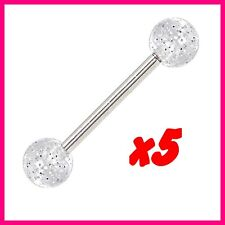 LOT PACK 5 PIERCING LANGUE GLITTER CLEAR ACRYLIC BALL BARBELL TONGUE RING 316L
