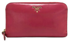 Authentic PRADA Zippy wallet round zipper purse Ladies pink leather Safiano logo