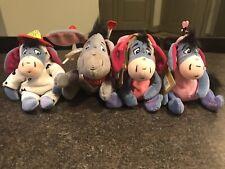 Lot of Disney 90's Eeyore Beanie Plush W/Tags; Fireman, Lovebug, Valentines