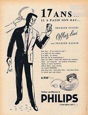 PUBLICITE ADVERTISING 015 1956 PHILIPS le premier rasoir électrique