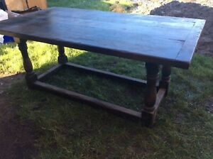 Fantastic untouched oak 2 inch thick top refectory table