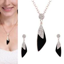 Fashion Women Crystal Bridal Jewelry Sets Alloy Black Necklace Earring Set UP