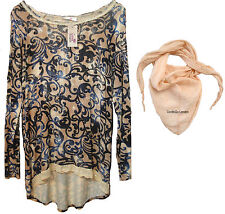 Goose Island Floral Tunic with Free Scarf - Peach - Made in Italy