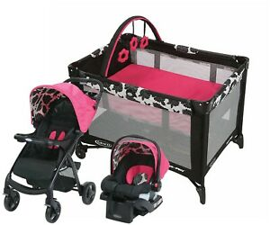 Graco Baby Stroller Travel System with Car Seat Infant Playard Set Girls - Pink