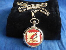 PHOENIX COYOTES ICE HOCKEY NHL CHROME POCKET WATCH WITH CHAIN (NEW)