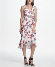 $285 Dkny Women White Red Blue Floral Sleeveless Belted V-Neck Wrap Dress Size 4