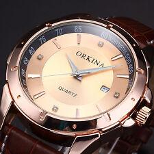 ORKINA Luxury Men's Golden Dial Leather Date Quartz Analog Sport Wrist Watch