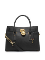 NWT MICHAEL KORS Hamilton E/W Medium Saffiano Leather Satchel Purse Black Gold