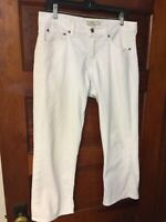 Lucky Brand Size 8 White Capri Denim Jeans Easy Rider Crop Stretch 8/29