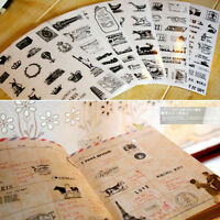 6pcs Diary Decoration Scrapbooking PVC Transparent Stationery Planner Sticker LJ