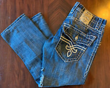 ROCK REVIVAL DEREK STRAIGHT 34x26 JEANS FLAP POCKET DESTROYED DENIM BLUE