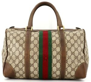 Authentic GUCCI Sherry Line GG Logo Old Gucci PVC Leather Boston Bag Brown