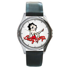 BETTY BOOP Round Silver Metal Watch Leather Band
