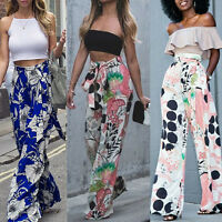 Fashion Women's Loose Stretch High Waist Wide Leg Floral Pants Palazzo Trousers