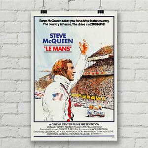 Steve McQueen Le Mans Movie Poster Car Racing Canvas Art Print Wall Decor