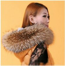 Luxury Real Raccoon Fur Large Collar Shawl Cape Wrap Stole Scarf Winter Scarf