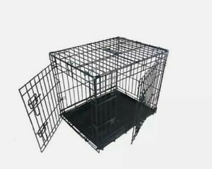 Ellie-Bo Dog Puppy Cage Folding 2 Door Crate Non-Chew Metal Tray Large 30inch