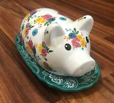 Pig Butter Dish Gibson Everyday Floral Ceramic Farmhouse Pioneer Ships Fast!