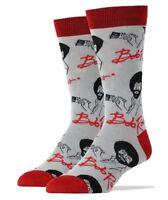 Oooh Yeah! Socks Men's Crew Novelty Socks, It's Bob Ross, Gray/Red (OSFM)