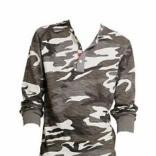 Ralph Lauren Denim and Supply Gray Camo Polo Henley USA Flag Shirt L
