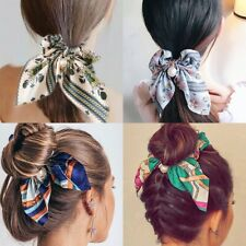 Flower Stripe Printing Bow Tie Pearl Scrunchies Women Hair Band Rope Streamer