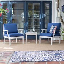 3 Piece Blue Cushion Bistro Patio Set Home Outdoors Furniture Poolside Deck Yard