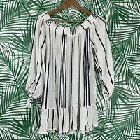 Faithfull The Brand Striped Ruffle Off The Shoulder Tunic Top Women's Size 4